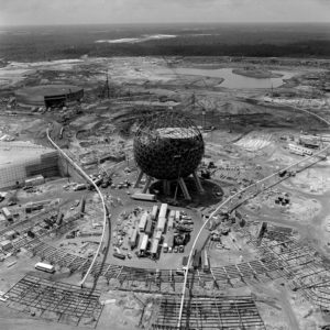 "Spaceship Earth at Epcot began to take shape in this 1981 construction photo at Walt Disney World Resort. Opened to guests on Oct. 1, 1982 EPCOT Center was one of Walt Disney's original ideas for his ""Florida Project."" (Disney)"